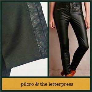 Pilcro & the Letterpress Green Moto skinny pants